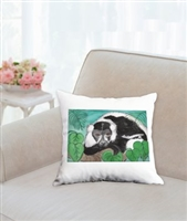 """Black & White Lemur #2"" Throw Pillow"