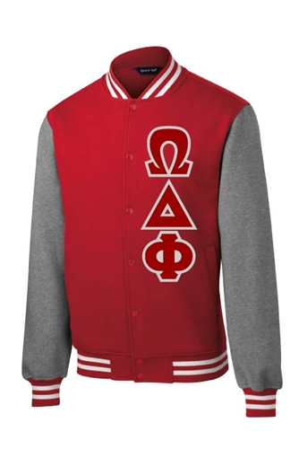 ca690460cf Omega Delta Phi Fleece Letterman Jacket
