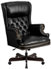 High back black leather swivel office chair
