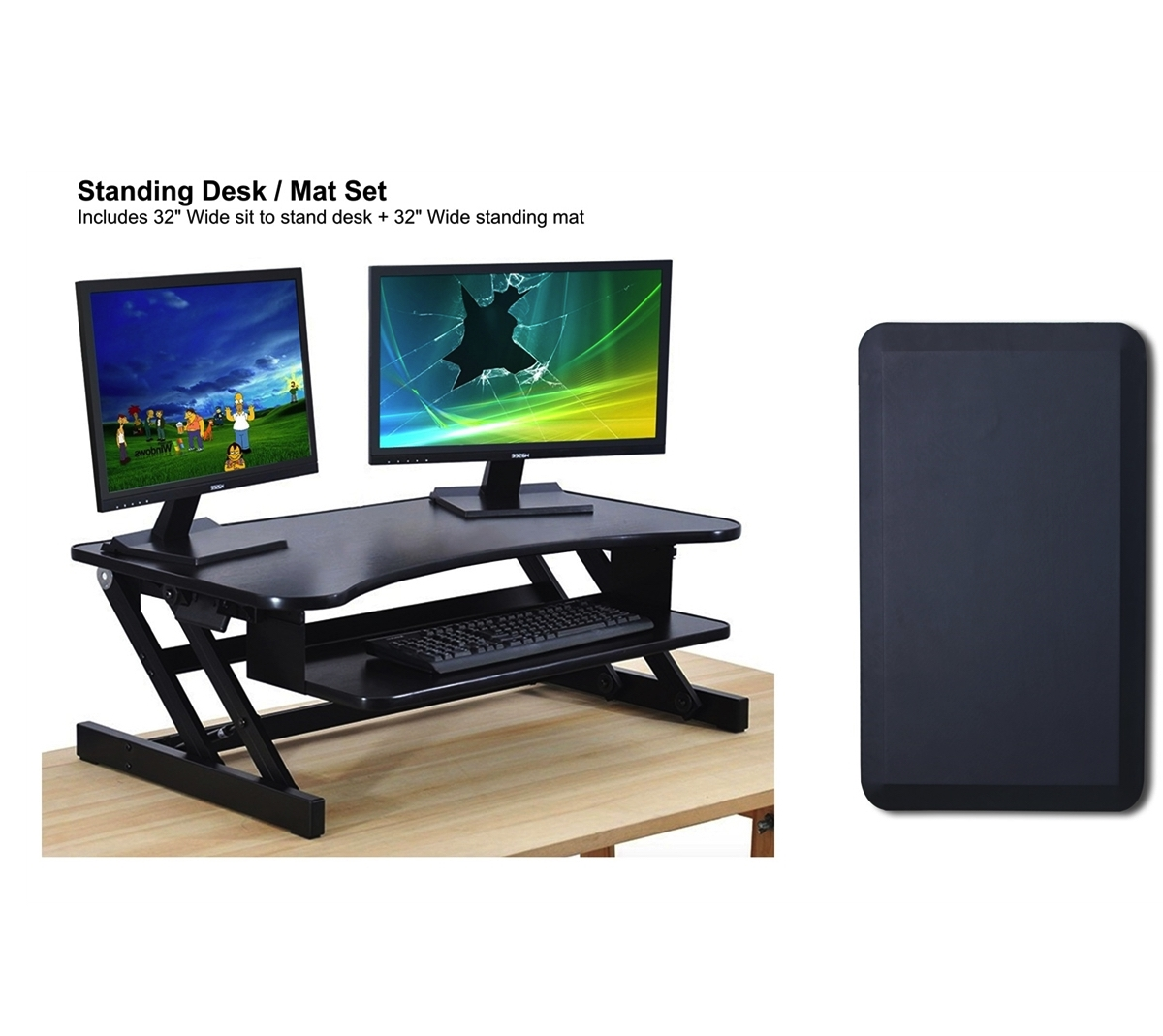 standing desk anti fatigue standing mat combo