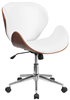 Mid back Walnut Wood Swivel Office Chair - White Leather