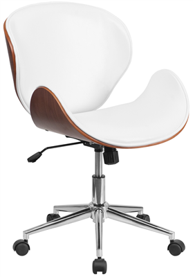Mid Back Walnut Wood Swivel Office Chair White Leather
