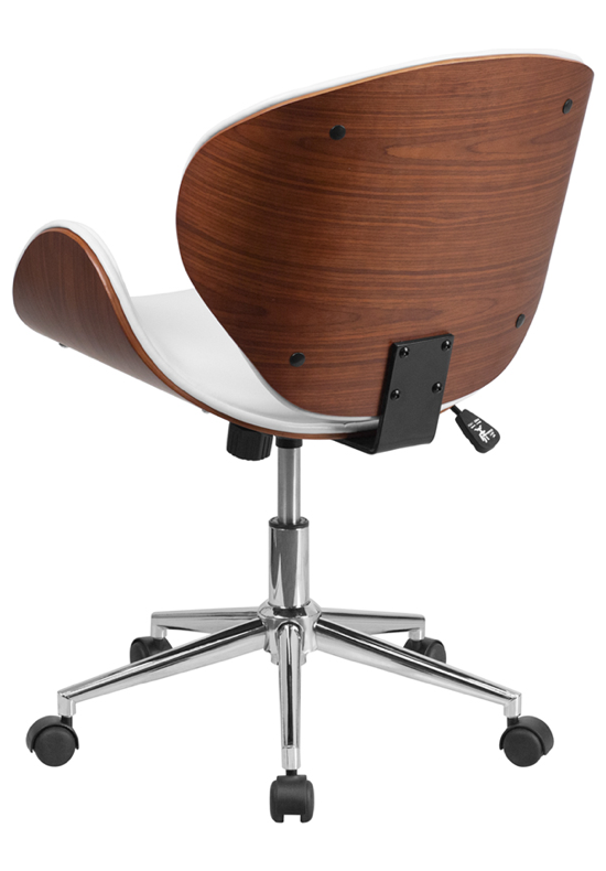 Wondrous Mid Back Walnut Wood Swivel Office Chair White Leather Dailytribune Chair Design For Home Dailytribuneorg