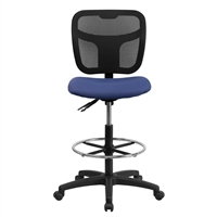 Mid-Back Mesh Drafting Stool with Navy Blue Fabric Seat