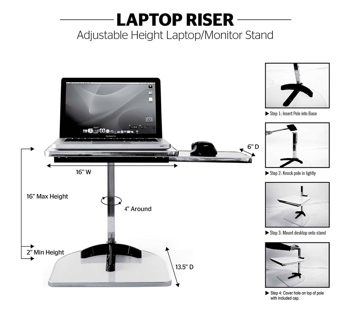 Height adjustable laptop riser Laptop Monitor Riser Laptop