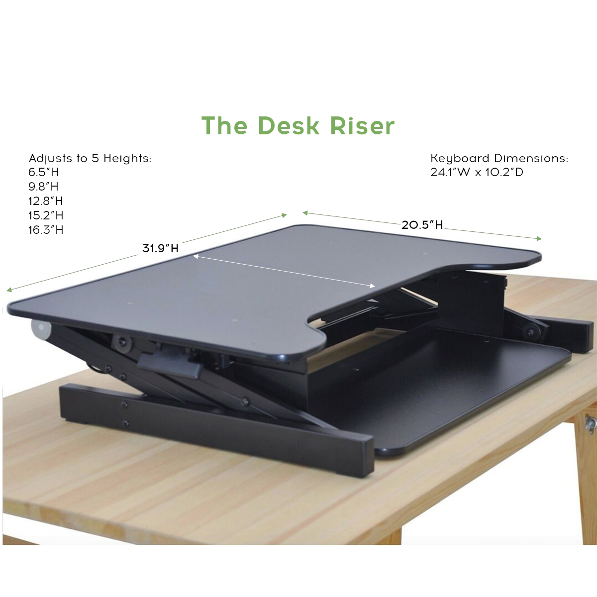 Picture of: Standing Desk The Deskriser Height Adjustable Heavy Duty Sit To Stand Office Desk Supports Up To 50 Lbs 32 Wide Sit Stand Up Desk Converter