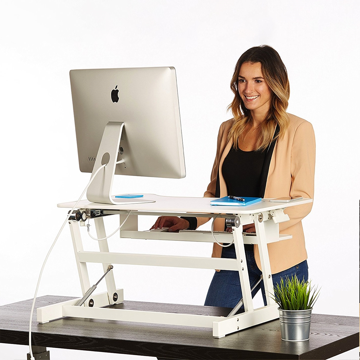 dark in dw and top with adjustable walnut standup silver desk up p stand luxor desks frame