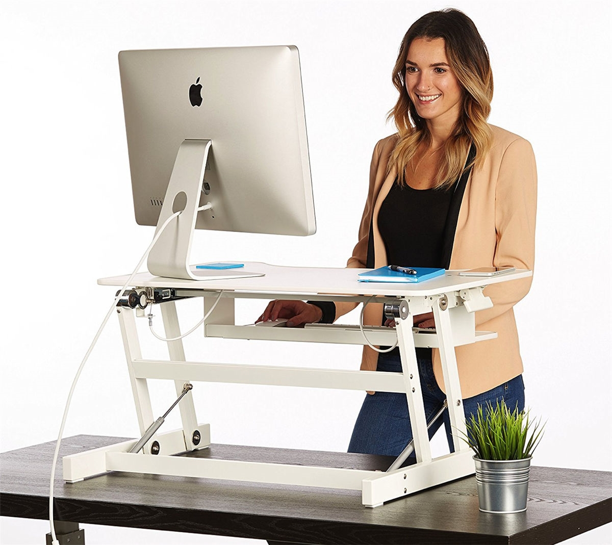 Picture of: White Standing Desk The Deskriser Height Adjustable Heavy Duty Sit To Stand Office Desk Supports Up To 50 Lbs 32 Wide Sit Stand Up Desk Converter