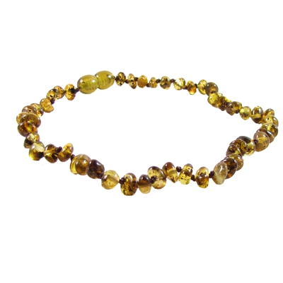 The Amber Monkey Polished Baroque Baltic Amber 10-11 inch Necklace - Pear POP