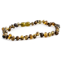 The Amber Monkey Polished Baroque Baltic Amber 10-11 inch Necklace - Olive POP