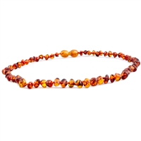 The Amber Monkey Polished Baroque Baltic Amber 12-13 inch Necklace - Cognac POP