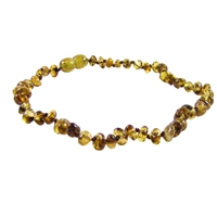 The Amber Monkey Polished Baroque Baltic Amber 12-13 inch Necklace - Pear POP