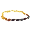 The Amber Monkey Baltic Amber 10-11 inch Necklace - Raw Rainbow Bean POP