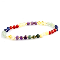 The Amber Monkey Baltic Amber & Gemstone 7-8 inch Bracelet- Rainbow