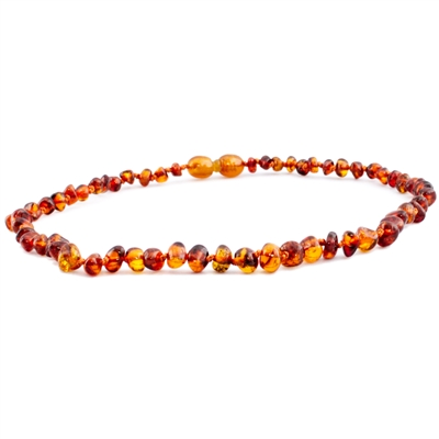 The Amber Monkey Polished Baroque Baltic Amber 17-18 inch Necklace - Cognac