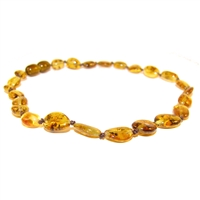 The Amber Monkey Polished Baltic Amber 10-11 inch Necklace - Pear Bean POP