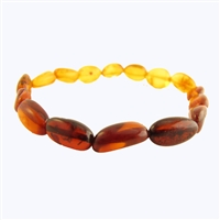 The Amber Monkey Polished Baltic Amber Rainbow Bean Bracelet- 7-8 inch Stretch
