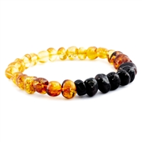 The Amber Monkey Polished Baltic Amber Rainbow Baroque Bracelet- 7-8 inch Stretch