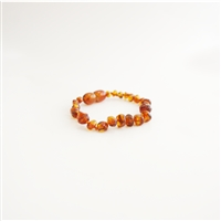 The Amber Monkey Polished Baroque Baltic Amber Bracelet- Cognac
