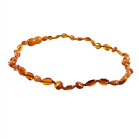 The Amber Monkey Polished Baltic Amber 10-11 inch Necklace - Cognac Bean