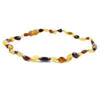 The Amber Monkey Polished Baltic Amber 10-11 inch Necklace - Multi Bean