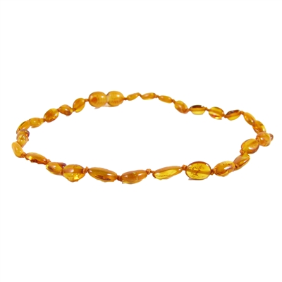 The Amber Monkey Polished Baltic Amber 12-13 inch Necklace - Honey Bean