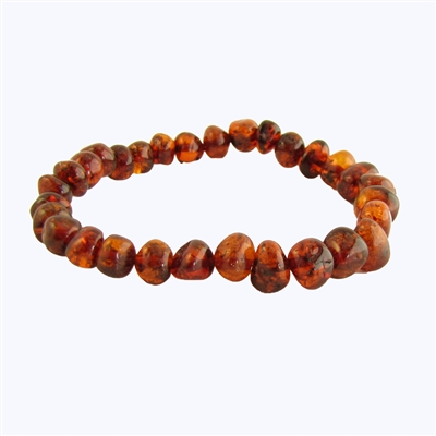 The Amber Monkey Baltic Amber Stretch Bracelet- 7-8 inch  Baroque Cognac
