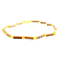"The Amber Monkey Hazelwood & Baltic Amber 17""-18"" Necklace - Raw Lemon/Hazelwood"