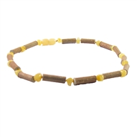 "The Amber Monkey Hazelwood & Baltic Amber 17""-18"" Necklace - Milk/Hazelwood"