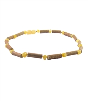 "The Amber Monkey Hazelwood & Baltic Amber 21""-22"" Necklace - Milk/Hazelwood"