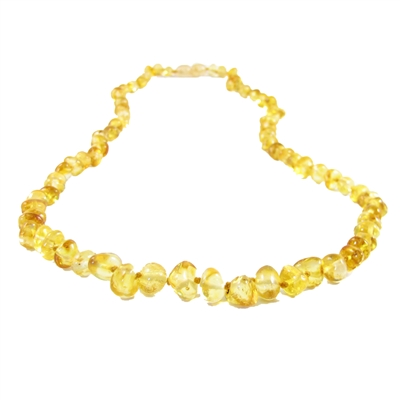 The Amber Monkey Polished Baroque Baltic Amber 17-18 inch Necklace - Lemon