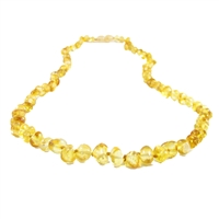 The Amber Monkey Polished Baroque Baltic Amber 21-22 inch Necklace - Lemon