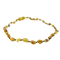 The Amber Monkey Polished Baltic Amber 10-11 inch Necklace - Pear Bean