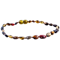 The Amber Monkey Polished Baltic Amber 10-11 inch Necklace - Olive Bean