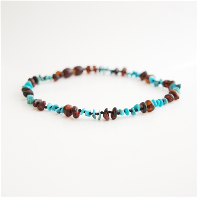 The Amber Monkey Baltic Amber & Gemstone 12-13 inch Necklace - Chestnut Turquoise