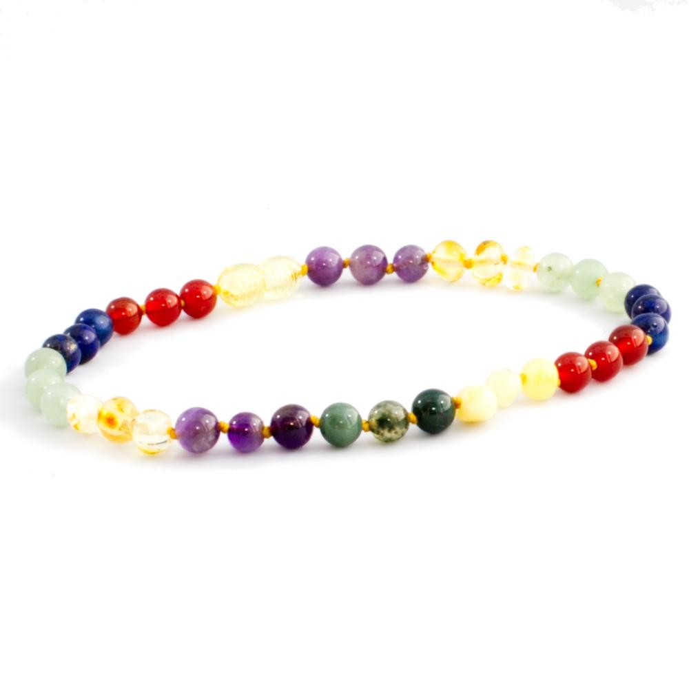 The Amber Monkey Baltic Amber & Gemstone 10-11 inch Necklace - Rainbow