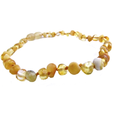 The Amber Monkey Baroque Baltic Amber 10-11 inch Necklace - Raw Milk & Polished Lemon