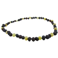 The Amber Monkey Baroque Baltic Amber 12-13 inch Necklace -Raw Lemon/Chestnut Trio