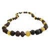 The Amber Monkey Polished Baltic Amber 17-18 inch Necklace - Raw Lemon/Chestnut Trio
