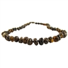 The Amber Monkey Polished Baroque Baltic Amber 17-18 inch Necklace - Olive