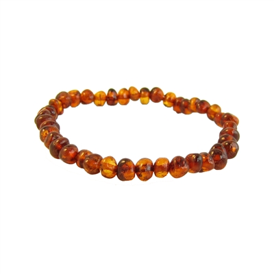The Amber Monkey Baltic Amber Petite Cognac Baroque Bracelet- 7-8 inch