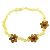 The Amber Monkey Baroque Baltic Amber 10-11 inch Necklace - Raw Lemon/Cognac Flowers POP