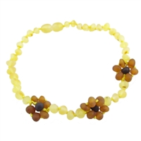 The Amber Monkey Baroque Baltic Amber 12-13 inch Necklace - Raw Lemon/Cognac Flower