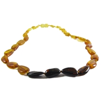 The Amber Monkey Polished Baltic Amber 21-22 inch Necklace - Rainbow Bean