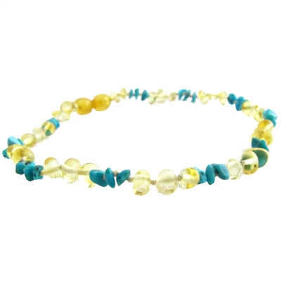 The Amber Monkey Baltic Amber & Gemstone 10-11 inch Necklace - Lemon Turquoise Chips POP