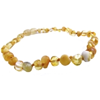 The Amber Monkey Baroque Baltic Amber 12-13 inch Necklace - Raw Milk & Polished Lemon POP