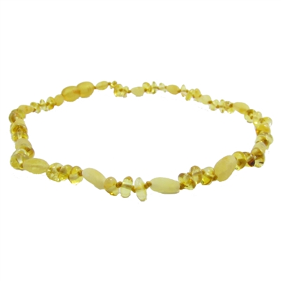 The Amber Monkey Polished Baltic Amber 12-13 inch Necklace -  Lemon Baroque Milk Bean POP