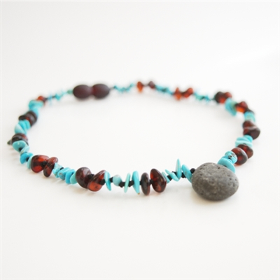 The Amber Monkey Baltic Amber, Gemstone & Aroma Diffusing 10-11 inch Necklace - Raw Chestnut/Turquoise Pendant