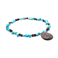 The Amber Monkey Baltic Amber, Gemstone & Aroma Diffusing 17-18 inch Necklace - Raw Chestnut/Turquoise Pendant