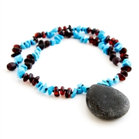 The Amber Monkey Baltic Amber, Gemstone & Aroma Diffusing 26 inch Necklace - Raw Chestnut/Turquoise Pendant